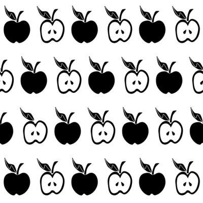 Fototapeta Černé bílé jablko bezešvé vzor
