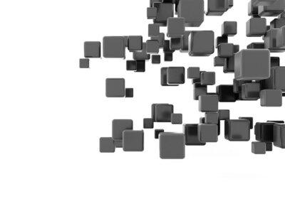 Fototapeta Černé kovové kostky létající