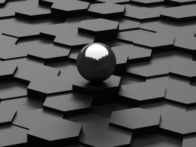 Fototapeta Černé pozadí 3d šestiúhelníků a ocelovou koulí