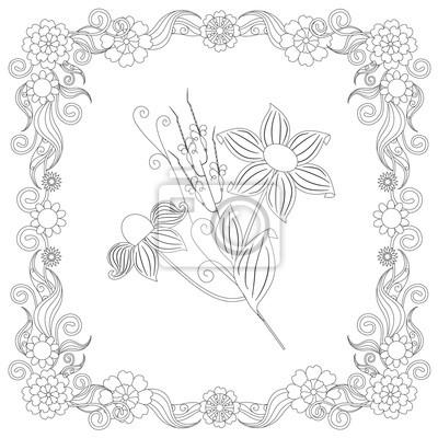 Cernobile Doodle Rucne Kreslene Kvetiny V Ramu Anti Stres Stock