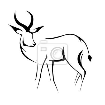 Černý obrys jelena lineární obraz fototapeta • fototapety krásná ... 5eb266fa47