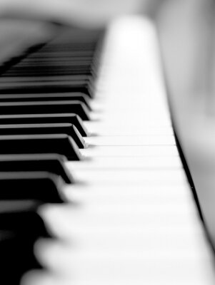 Fototapeta Černým klavírním zblízka rozostření pozadí a popředí.