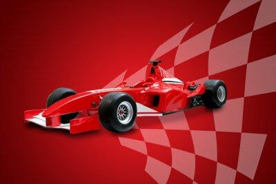 Fototapeta červená formule jedna auta a závodní vlajky
