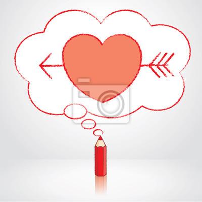 Cervena Tuzka Kresleni Sipkou Pres Srdce V Nadychane Cloud