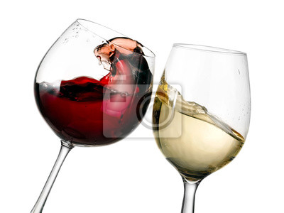 Fototapeta Červené a bílé víno brýle plash, zblízka