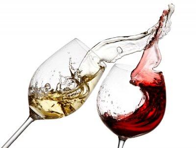 Fototapeta Červené a bílé víno stříkající