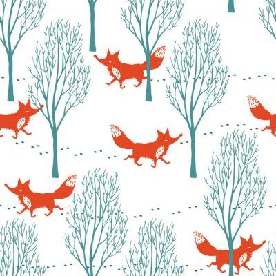 Fototapeta Červené lišky v zimě pozadí lesa