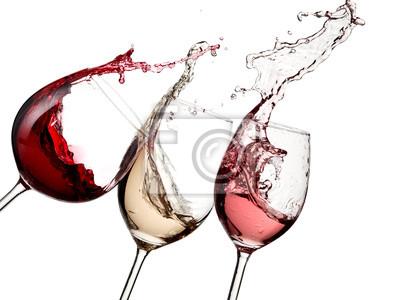 Fototapeta Červené, růžové a bílé víno se