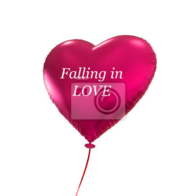 Fototapeta červené srdce balón, 3D objekt na bílém pozadí