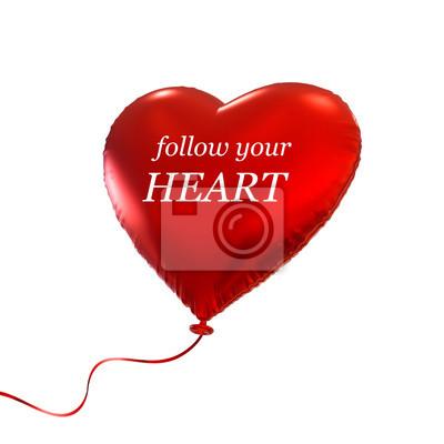 Fototapeta červené Valentýnské srdce balón, 3d ilustrace