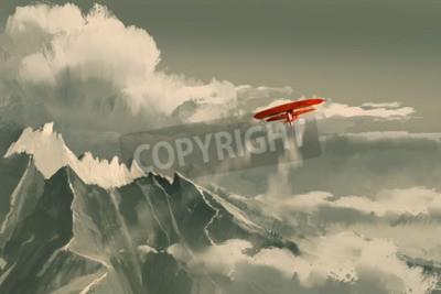 Fototapeta Červený dvojplošník létá nad horami, ilustrace, digitální malba