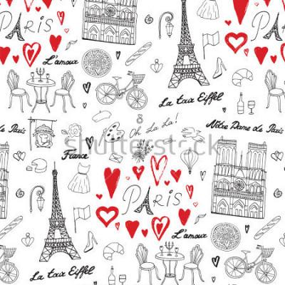 Fototapeta Cestovat v Paříži vzor vektorové linky