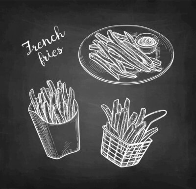 Fototapeta Chalk sketch of french fries
