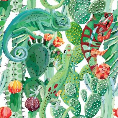 Fototapeta chameleon a kaktus bezproblémové pozadí