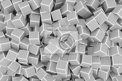 Fototapeta Chaotické šedé 3d kostky pozadí. 3D vykreslování obrázku