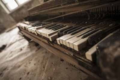 Fototapeta Chernobyl - close-up of an old piano