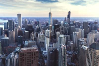 Fototapeta Chicago downtown panoráma města s mrakodrapy, letecký nebo ptačí oči pohled, zatažené obloze. Illinois, USA.