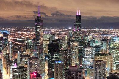 Fototapeta Chicago Urban letecký pohled za soumraku