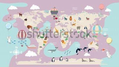 Fototapeta children's world map for the interior
