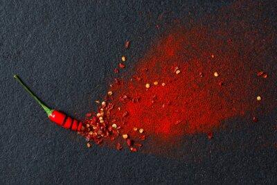 Fototapeta Chilli, paprika vločky a chilli