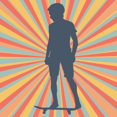 Fototapeta Chlapec skateboarding vektorové pozadí