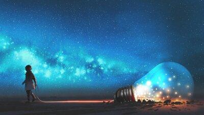 Fototapeta chlapec vytáhl velkou žárovku napůl zahalenou do země proti noční obloze s hvězdami a vesmírným prachem, digitálním uměním, ilustrační malbou