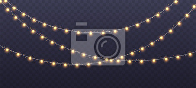 Fototapeta Christmas garland isolated on transparent background. Glowing yellow light bulbs with sparkles. Xmas, New Year, wedding or Birthday decor. Party event decoration. Winter holiday season element.