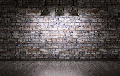 Fototapeta Cihlová zeď a lampy na pozadí