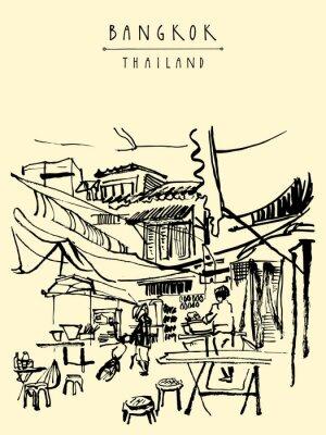 Fototapeta Čína město v Bangkoku v Thajsku. Potravinářské stánky, stoly, stoličky. Lidé kupují čínské jídlo v jednoduchém pouliční kavárně. Vertikální ročník ručně kreslenou pohlednici. vektorové ilustrace