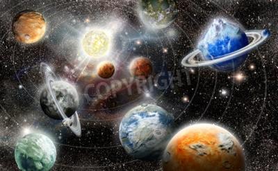Fototapeta cizinec planeta hvězda systém ve vesmíru