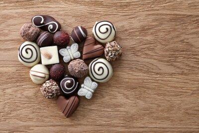 Fototapeta Čokoládové bonbóny srdce