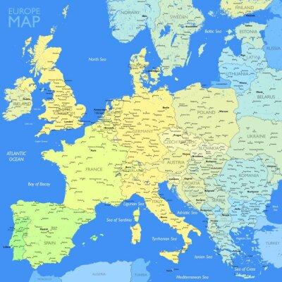 Fototapeta Color Mapa Evropy