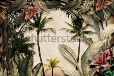 Fototapeta Colored Tropical Flowers wallpaper illustration