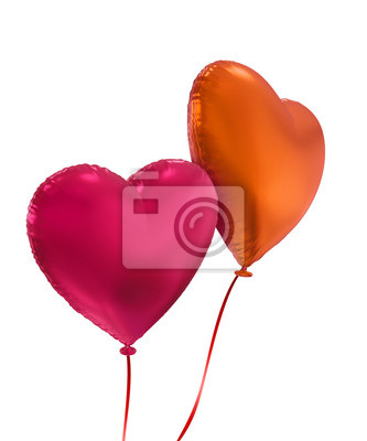 Fototapeta colorful Valentine's day 3d heart balloons isolated
