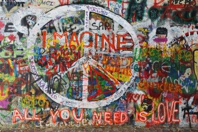 Fototapeta Colourfull mír graffiti na zeď