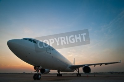 Fototapeta Commercial airplane parking at the airport