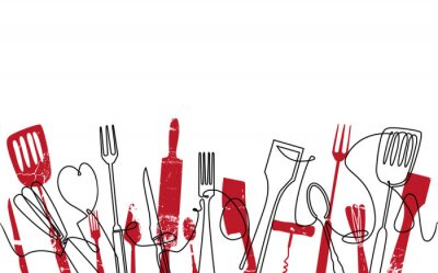 Fototapeta Cooking Seamless Pattern. Outline Cutlery Background. Trendy One Line Drawing.  Isolated Kitchen Utensils. Cooking Design Poster. Vector illustration.