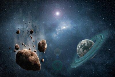 Fototapeta Cosmos scéna s asteroidem, planety a mlhoviny ve vesmíru