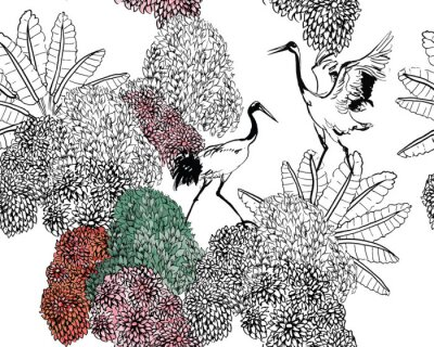 Fototapeta Couple of Cranes in Rajastan Blooming Bushes and Tropical Leaves, Black and White Doodle Drawing Wildlife Exotic Bushes, Tropical Birds in Jungle Textile Design on White Background
