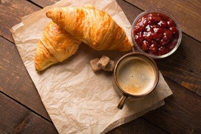 Fototapeta croissant s kávou
