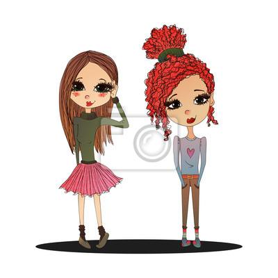 Fototapeta Cute Barevné vektorové Fashion Děti ilustrace s roztomilou módní  děti nosit stylové oblečení 4a06a67b8a