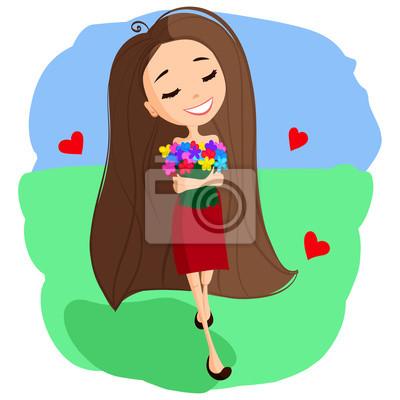 Fototapeta Cute Cartoon dívka v červených šatech ad4a5d0de6