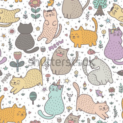 Fototapeta Cute cats in the summer seamless pattern. Great for cards, invitations, fabric and textile. Vector illustration