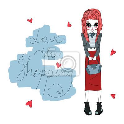 Fototapeta Cute Colorful Vector Láska Nákupní módní Ilustrace s Roztomilé  barevné módní dívka d160a60fc7