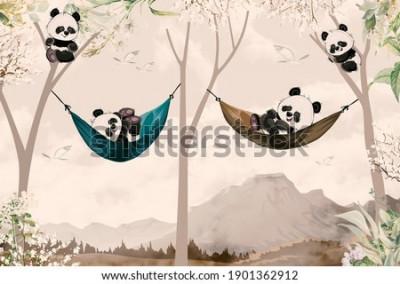 Fototapeta cute pandas lying in hammock for child room wallpaper design