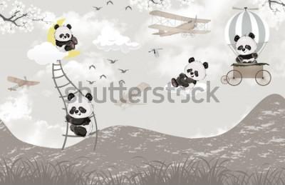 Fototapeta cute pandas playing in the sky kids room wallpaper design