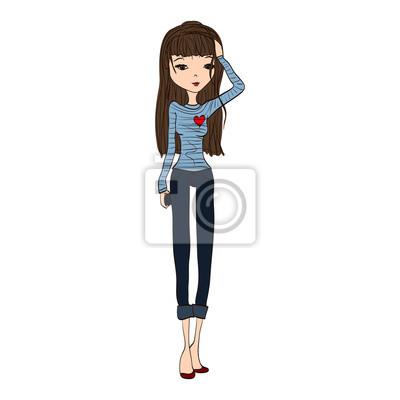 Fototapeta Cute ručně kreslenou Fashion Sketch s krásné ženy nosí stylové  oblečení df37a112c5