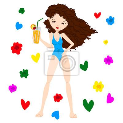 Cute ručně kreslenými letní girl in plochý design fototapeta ... 03e55bebec