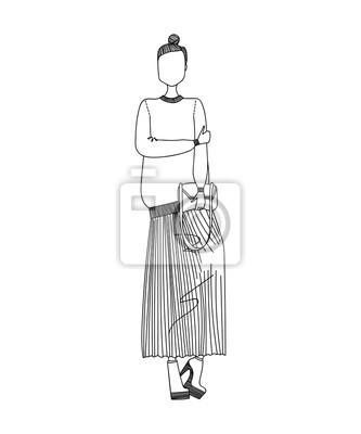 Fototapeta Cute Sketched ručně kreslenou módní Ilustrace s krásné ženy nosí  stylové oblečení Designer 016487dc24