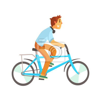 Fototapeta Cyklista mužského pohlaví v běžné oblečení na kole. Sportovní  životní styl a806b7b4b2